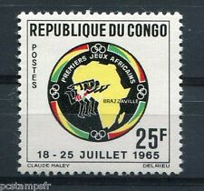 CONGO, 1965, timbre 175, SPORTS, JEUX AFRICAINS, CARTE, neuf**