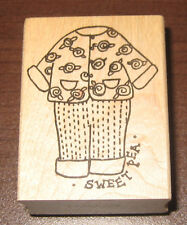 SWEET PEA Rubber Stamp New Childrens Outfit Wood Mounted