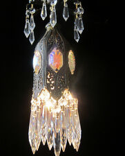 1o5 Jeweled Tulip lily filigree SWAG petit Crystal lamp chandelier Vintage brass