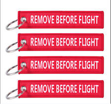 Red Remove Before Flight Key Chain Luggage Tag Woven Embroidery Keychain