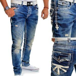 Men's Designers Cipo & Baxx Blue Jeans Embroidered Union Jack Regular Fit UK 32L