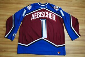 KOHO COLORADO AVALANCHE JERSEY HOCKEY SHIRT SIZE MENS XL DAVID AEBISCHER PATCHES