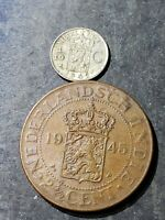 1945 NETHERLANDS EAST INDIES 2 1/2 CENTIMES + 1942 1/10 G SILVER COIN