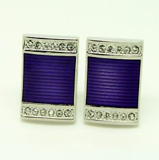 Purple Rectangular Cufflinks with Stones