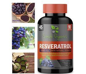 Organic Trans Resveratrol 1600mg❤️ Anti-Aging, Heart, Blood Sugar, Super Potent