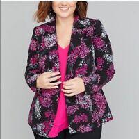 Lane Bryant Blazer Womens Size 16 Black Pink Floral Print Single Button Jacket