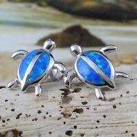 925 STERLING SILVER BLUE OPAL SEA TURTLE STUD EARRINGS
