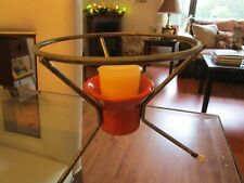 MID CENTURY MODERN VINTAGE CANDLE HOLDER METAL STAND with CERAMIC HOLDER UNIQUE