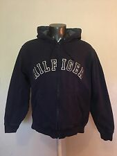 Vintage 90's Tommy Hilfiger Spell Out Blue Hooded Zip Up Mens Sweatshirt Size M