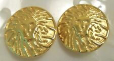 """LARGE Anne Klein Logo Lion Head Earrings CLIPS, solid ROUND 1-3/8"""" diameter Gold"""