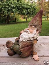 WOODLAND GARDEN GNOME 10.8 in. SITTING LAWN ORNAMENT YARD DECOR VILLAGE RESIN