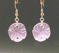 BWT- SANDDOLLAR Sea Glass Shell Earrings- Erg1345 PERIWINKLE- Nautical - Beach