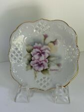 Hand Painted Floweral Reticulated 4.5� China Plate