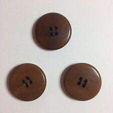 """Lot Of 3 Vintage Brown Plastic Sewing Buttons 1"""""""