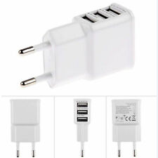 White 6A 3 USB Port EU Mains Wall Plug Charger Adaptor Samsung Apple Tablet