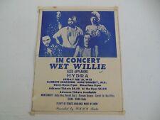 Vintage Wet Willie & Hydra Concert Handbill Rock Poster Montgomery Alabama