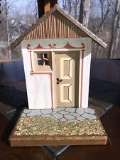 Vintage Anri Wood Carving Display Stand Backdrop Scenery - Cottage Front