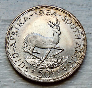 SOUTH AFRICA KM# 62, 1964 PL 50 CENTS SILVER 39mm PL+