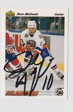 91/92 Upper Deck Dave McLlwain New York Islanders Autographed Hockey Card