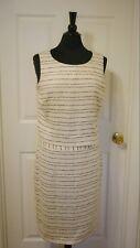 Women's, Spiegel, Skirt Suit, Beige, Black Stripes, Sleeveless, Linen Mix, 10