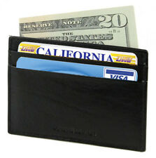Black leather Mens 4+ Credit Card Holder Ultra Thin Front pocket Wallet