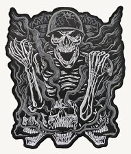 """SOLDIER SKULL BACK PATCH (Black/Silver) 25cm x 29cm (10"""" x 11.5"""") approx Sew on"""