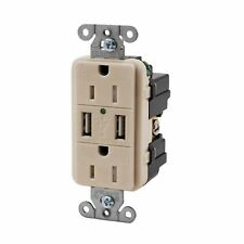 Hubbell Lt Almond Tamper Resistant Receptacle Outlet w/USB Charger 15A USB15X2LA