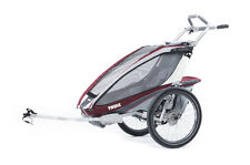 Thule Chariot CX1 Kinderanhänger Burgundy inkl. Fahrrad Set