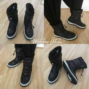 Ladies Black Camo Ex-Chainstore Fur lined Warm Winter Fleece Snow Boots Size