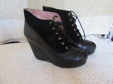Ladies  Bertie Black Leather Wedge Ankle Boots Lace up  UK Size 6 (39)