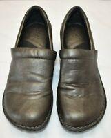 BOC Born Concept Womens Size 9.5 Black Pebbled Leather Clogs Slip On Nurse Shoes