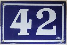 Old blue French house number 42 door gate plate plaque enamel metal sign c1950