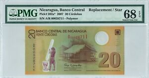 Nicaragua 20 Cordobas P202* 2007 PMG68EPQ s/n A/R 00028711 Replacement Polymer