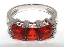 14K WHITE GOLD PRINCESS-CUT MEXICAN FIRE OPAL & DIAMOND RING