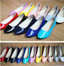 D68 Casual Women Flats Slippers Candy Colors Ladies Ballerina PU Leather Shoes