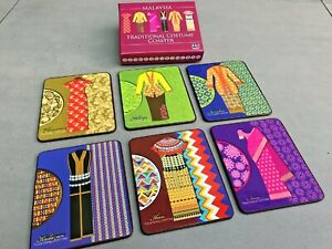 Malaysia Traditional Costumes Coaster Set (Set of 6). New in Box.
