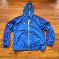 True Religion Sportswear Mens Blue Full Zip Hooded Jacket Windbreaker Size XXL