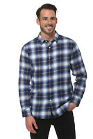 Elevani Men's Long Sleeve Regular Fit Flannel Casual White/Navy Shirt