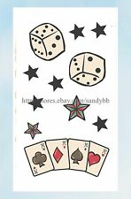 US Seller- cool fake tattoos playing cards dice stars temporary tattoo