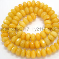 Pretty 5x8mm Faceted Topaz gemstone yellow citrine Rondelle loose beads 15""