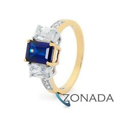Simulated Diamond Sapphire Octagonal 9k 9ct Solid Yellow Gold Cocktail Rings