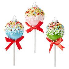 "RAZ Imports 5"" Cake Pop Ornaments Set/3 Green Pink Blue Glass Bead Christmas NEW"