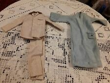 1961 Ken Sleeper Set Pajamas #781 Brown White Striped Shirt Pants blue robe