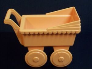 Vintage Baby Carriage Pink Playskool Buggy Stroller Miniature Doll House Toy