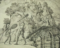 Scene of Castle Combat of the Knights/Hero for the Woman Drawing Xixth 57 CM