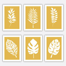 LEAF FERN Minimalist Art Print, Scandinavian Modern Art Scandi Yellow Collection