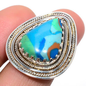 Rainbow Calsilica Gemstone 925 Sterling Silver Bali Ring s.6 W3126