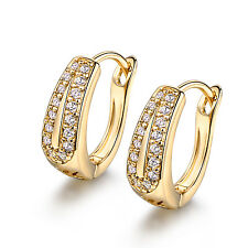 Fashion Yellow Gold Filled Hollow Leaf Diamond Crystal Women Hoop Lady Earrings