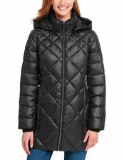 Andrew Marc Ladies Womens Long Puffer Jacket Rmvble hood BLACK MEDIUM New w Tags