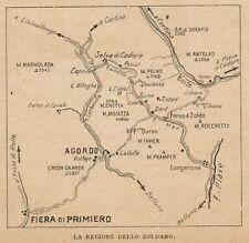 D1145 La Regione dello Zoldano - Carta geografica antica del 1925 - Old map
